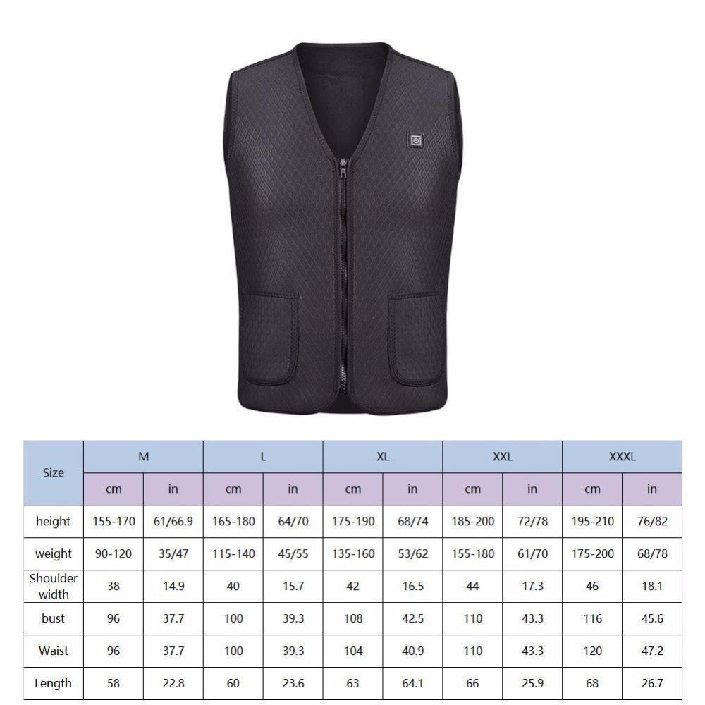 Outdoor USB Infrared Winter Heating Vest J - Flexible Electric Thermal Clothing For Sports and Hiking