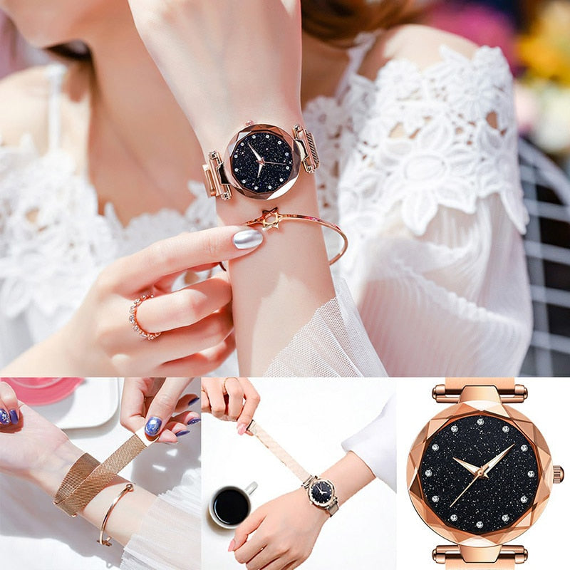 starry sky magnetic girl watch rosegold