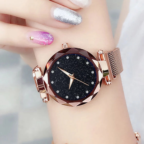starry sky magnetic girl watch brown