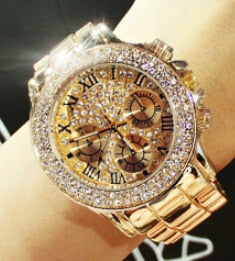 Luxury Crystal Diamond Watches Women Gold Watch