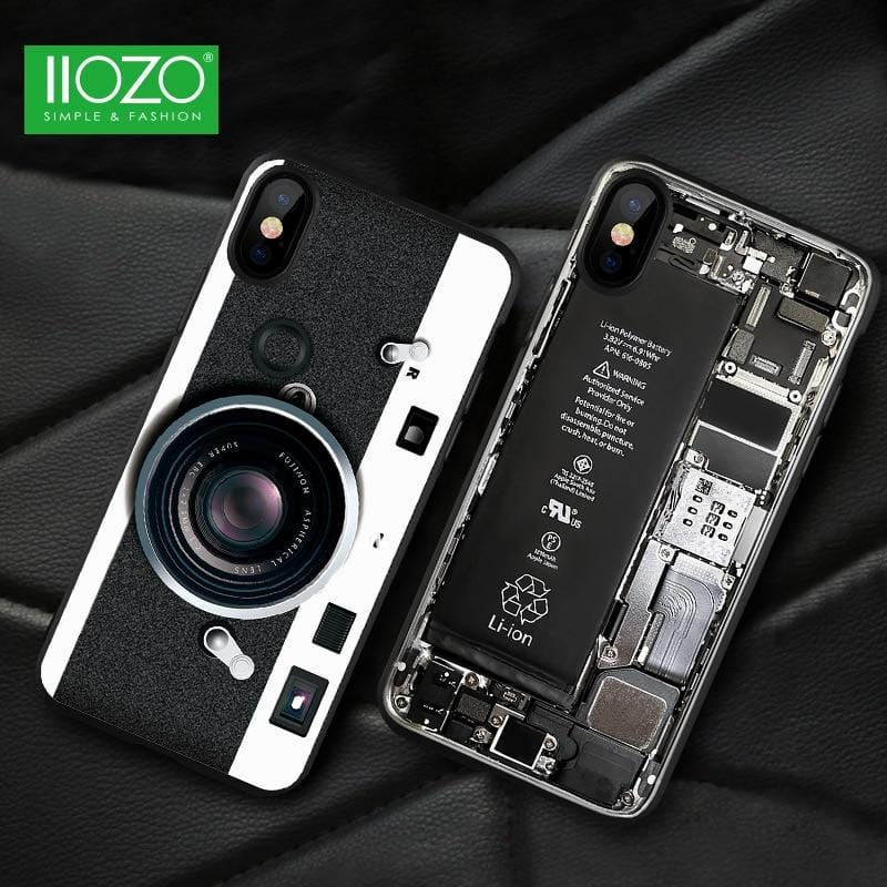 Ultra Thin 3D Old Vintage Styles For iPhone X Case Cool Pattern Broken Camera Tape Phone