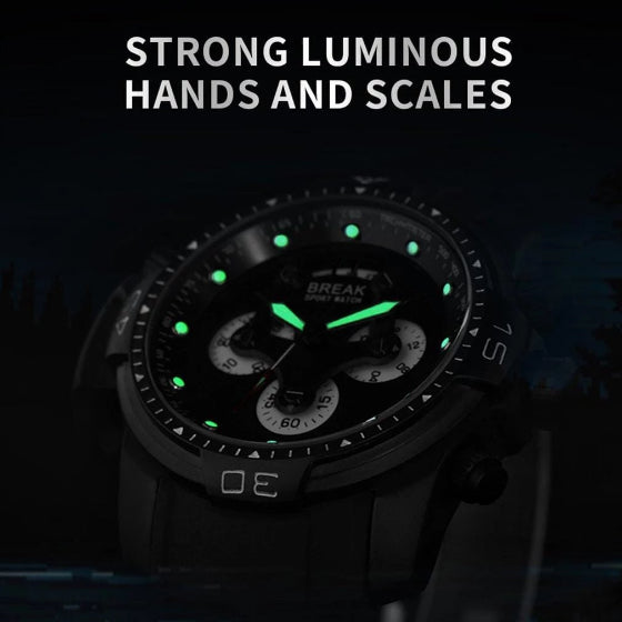 black grenade series sport break watch with luminous hands and scales on black background