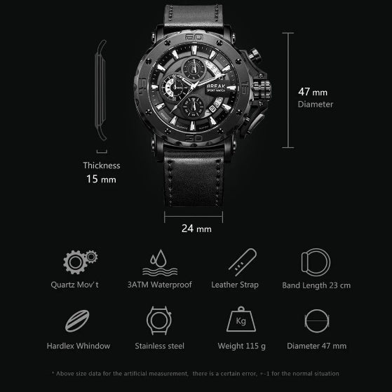 black ranger series break watch on black background infographic about dimension and watch features