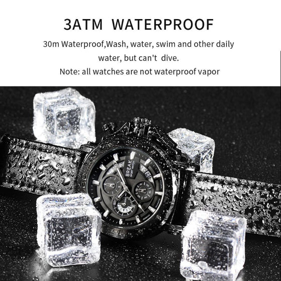 3atm waterproof black ranger series break watch lay down on black background and ice cubes arround