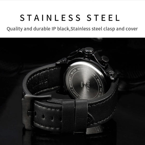stainless steel back cover and black leather strap on ranger series break watch on black background