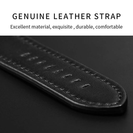 genuine leather strap on a black background