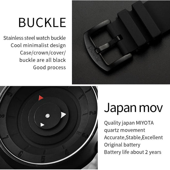 supreme series black break watch buckle and movement details