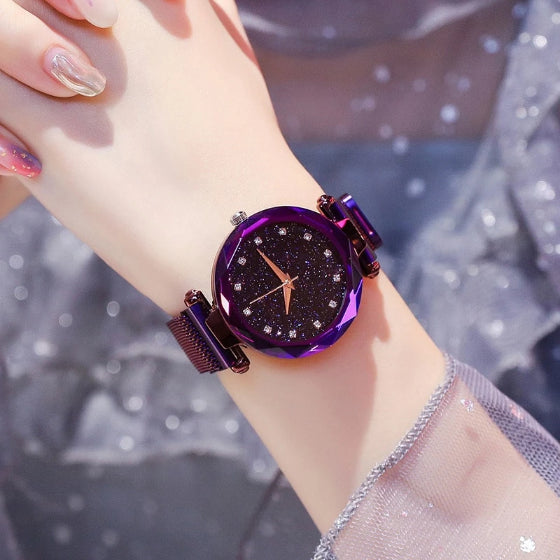 starry sky magnetic girl watch purple
