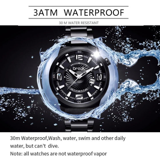 waterproof shutter series black break watch on a black background with water