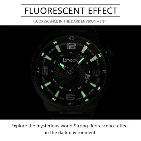 flourescent effect on shutter series break watch on black background