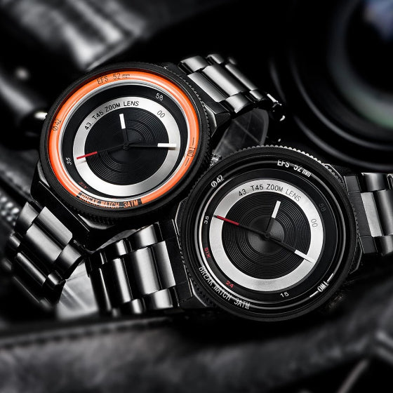 orange and black lens series break watch with black stainless steel straps