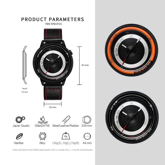 lens series break watches product parametars infographic