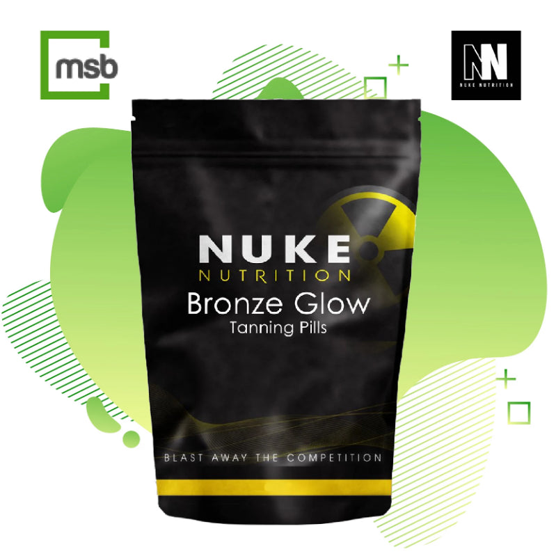 Nuke Nutrition Bronze glow sunless tanning pills in their black package on a white background with the mega store box logo in the top left corner