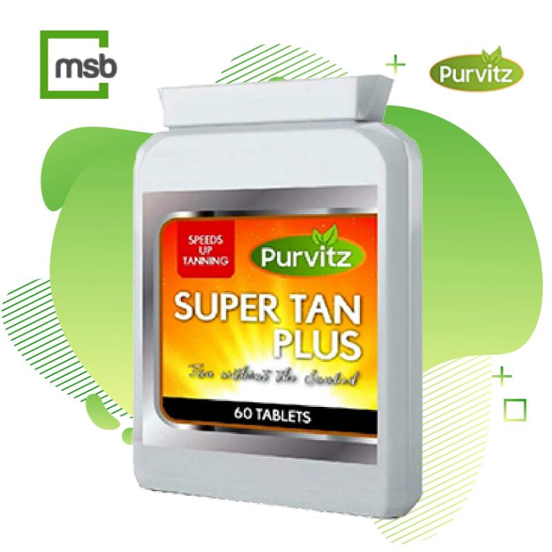 Bottle of Purvitz Sunless Tanning pills on a white background with the MegaStoreBox logo in the top left corner