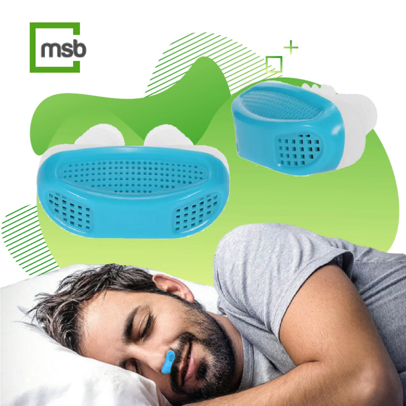 two views of blue anti snoring device and male sleeping peacefully with anti snoring device on the bottom
