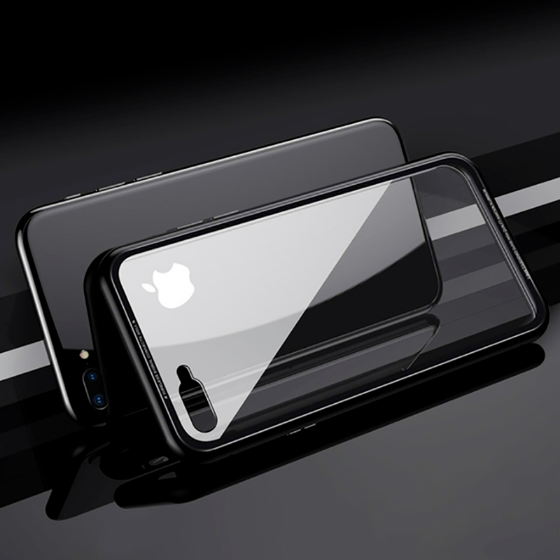 black iphone x backside with magnetic protective clear shockproof cover on a black background