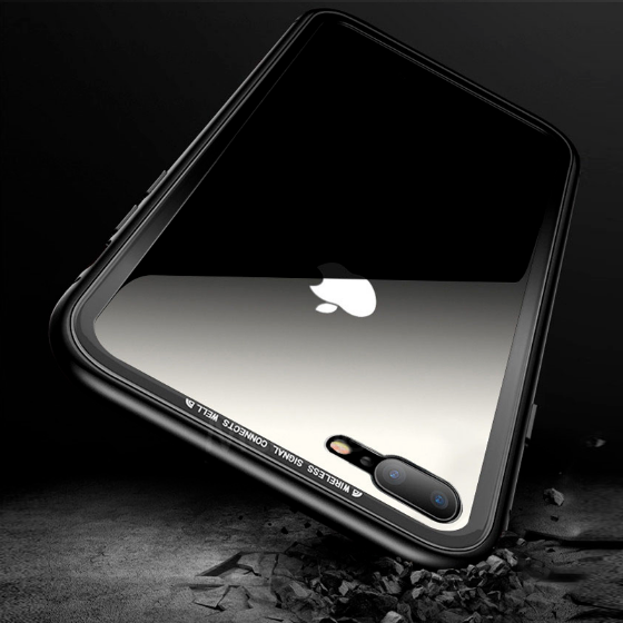 black iphone x backside with magnetic shockproof clear protective cover on a black background