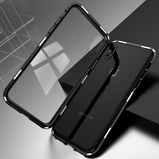 black iphone x with clear protective  shockproof case on a grey background