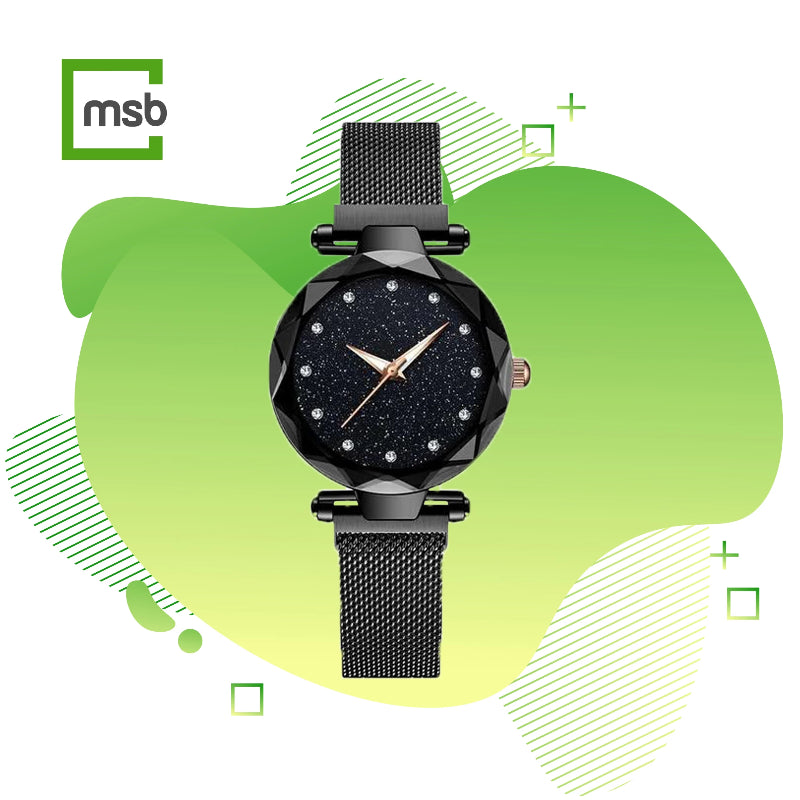starry sky magnetic girl watch black megastorebox
