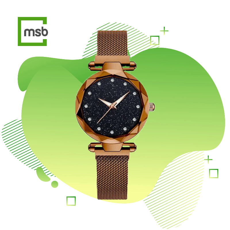 mega store box starry sky magnetic girl watch brown