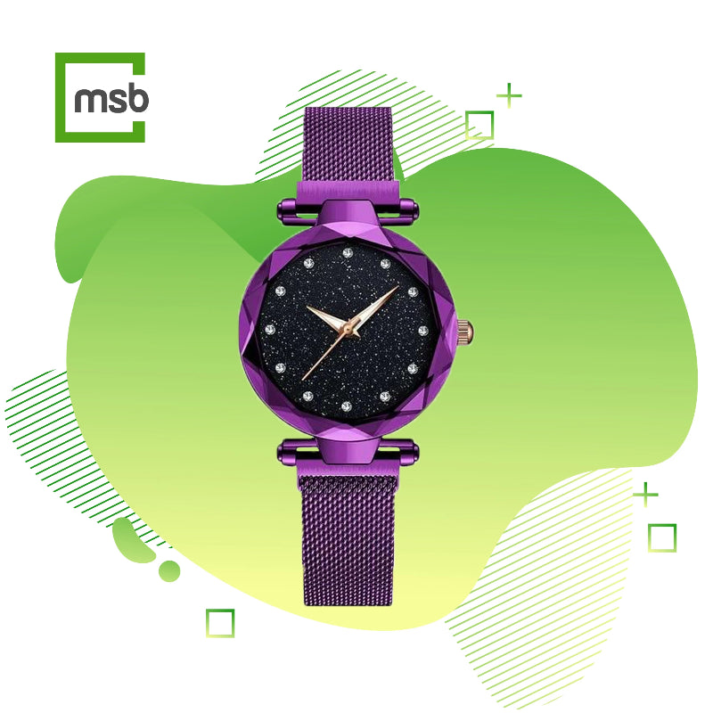 megastore box starry sky magnetic girl watch purple