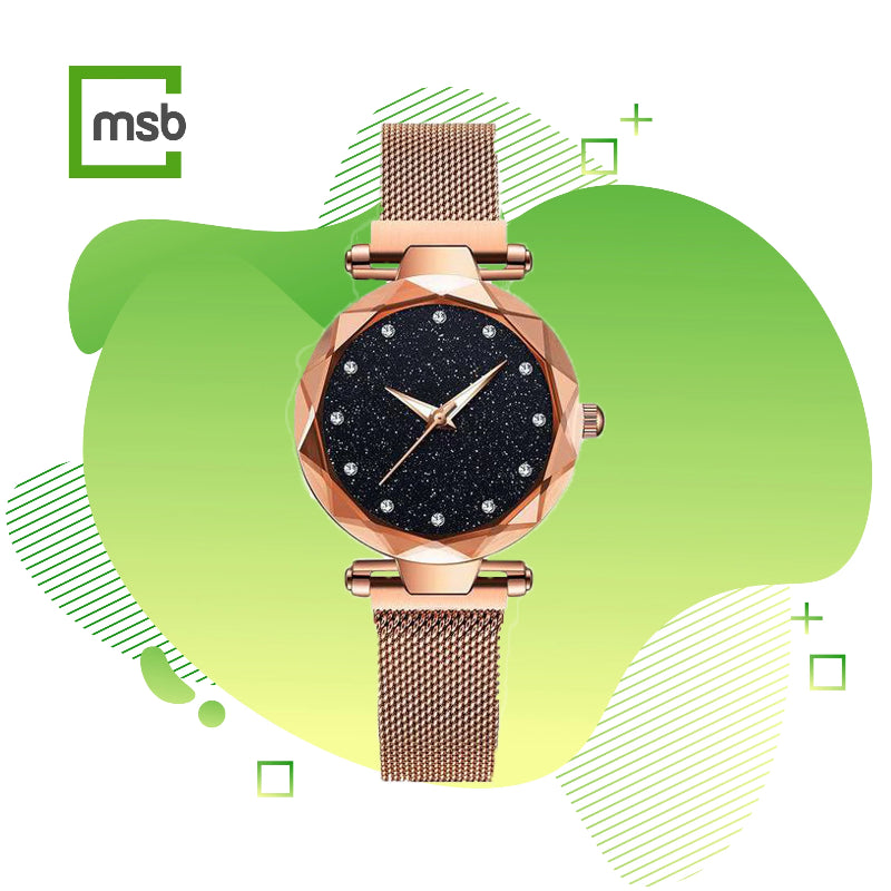 megastore box starry sky magnetic girl watch rosegold