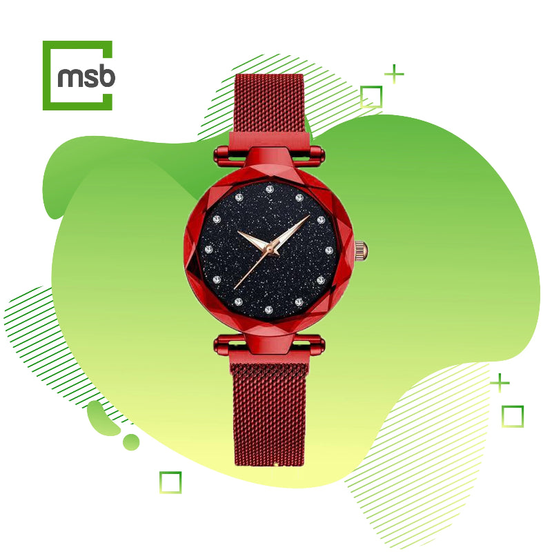 mega store box starry sky magnetic girl watch red