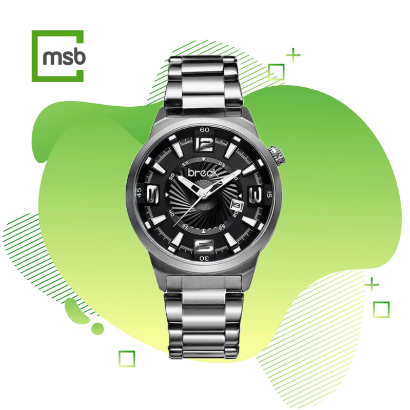 shutter series gray break watch with stainless steel strap on the green mega store box background