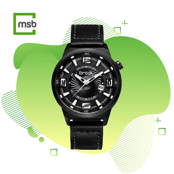 black shutter series break watch with leather strap on the green mega store box background