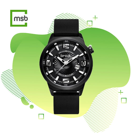 shutter series black break watch with silicone strap on the green mega store box background
