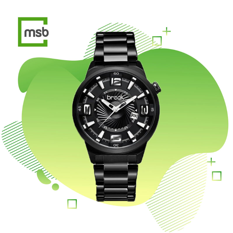 black shutter series break watch with stainless steel strap on the green mega store box background