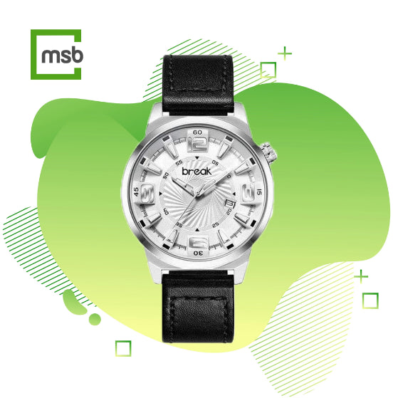 silver shutter series break watch with leather strap on the green mega store box background