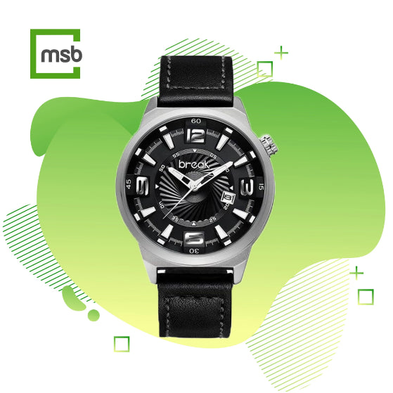 gray shutter series break watch with leather strap on the green mega store box background