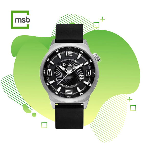 gray shutter series break watch with silicone strap on the green mega store box background