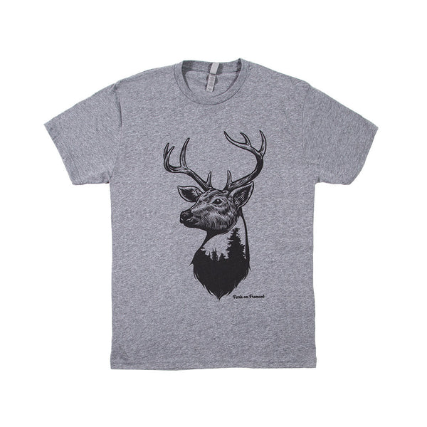 Deer, Light Grey w/ Black Crew T-Shirt