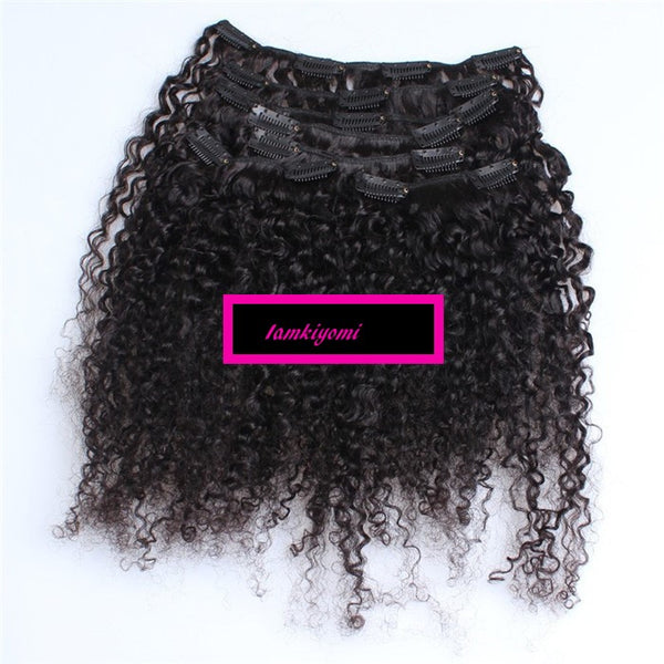 Kinky Curly  Clip In Hair Extensions 100 g/pack