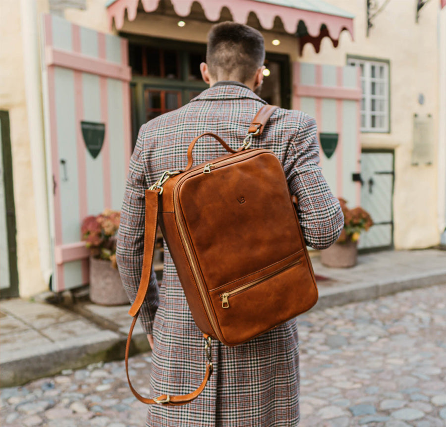 10X convertible leather backpack