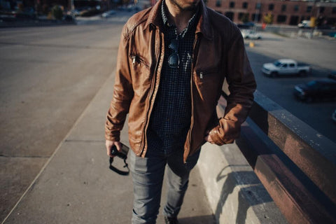 Brown leather jacket with jeans t-shirt