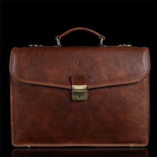 brown leather laptop briefcase