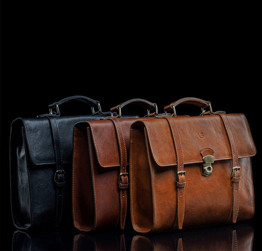 3 colours of leather messenger bags