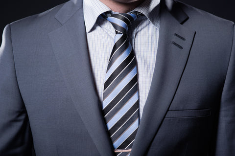Closeup of a business formal suit with tie