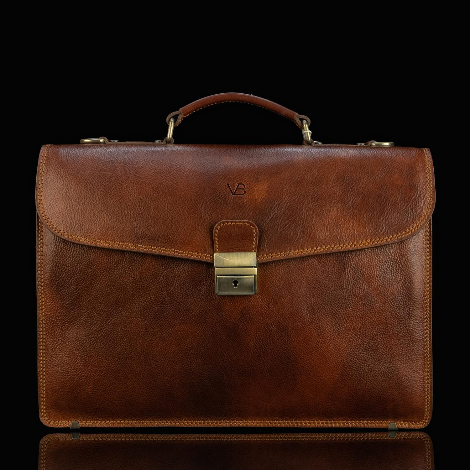 Master No 6 Mens Leather Briefcase, Brown