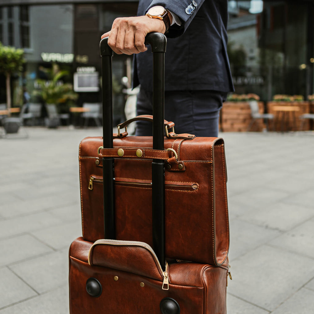 Voyager Leather Carry-on Bag with Wheels from Von Baer