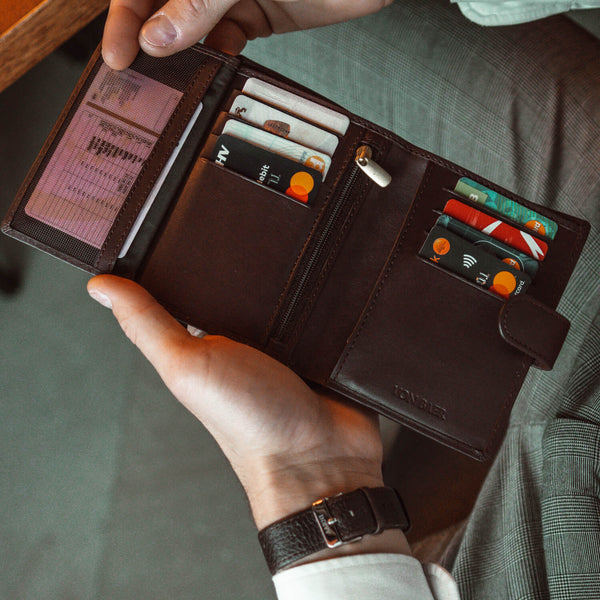 large brown trifold wallet open