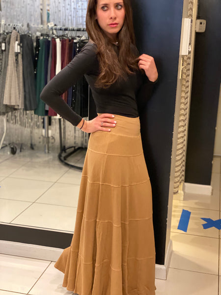 Hardtail Maxi Ribbed Tiered Skirt