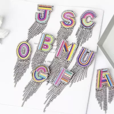 Letter bling brooch