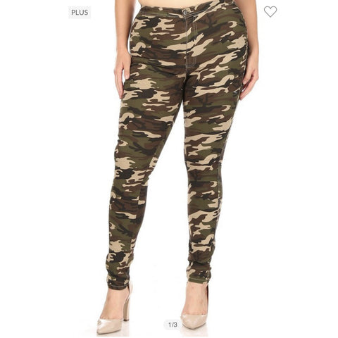 High waist camo simple jeans 1028 - Vintage Barbie Btq