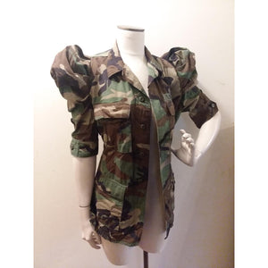 Camouflage puffy sleeve jacket