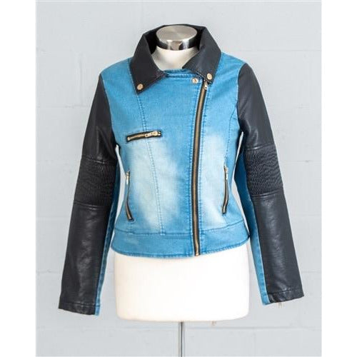 Denim and leather jacket 1014 - Vintage Barbie Btq