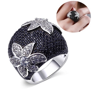 Flower rhinestone ring